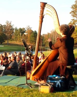Harp player at a wedding in Alabama